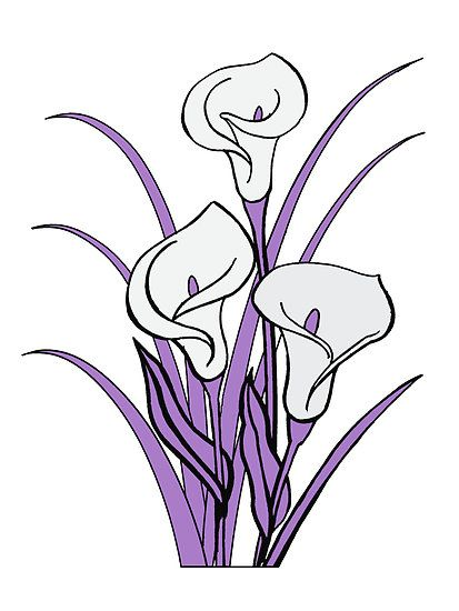 calla lily floral bouquet in purple by mybestdesigns redbubble rh pinterest com clipart calla lily flower