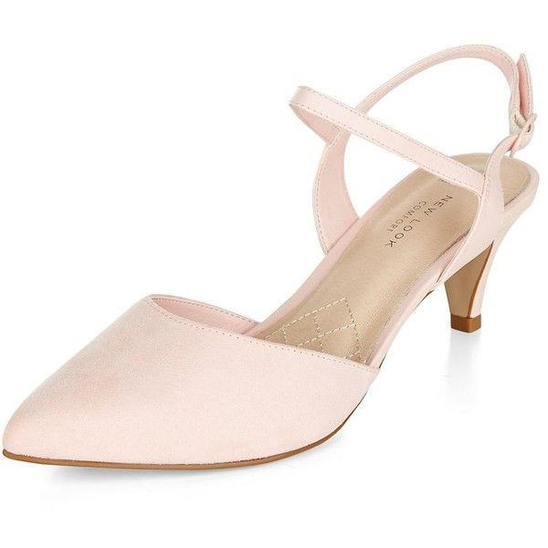 Wide Fit Pink Comfort Pointed Kitten Heels ($31) ❤ liked on ...