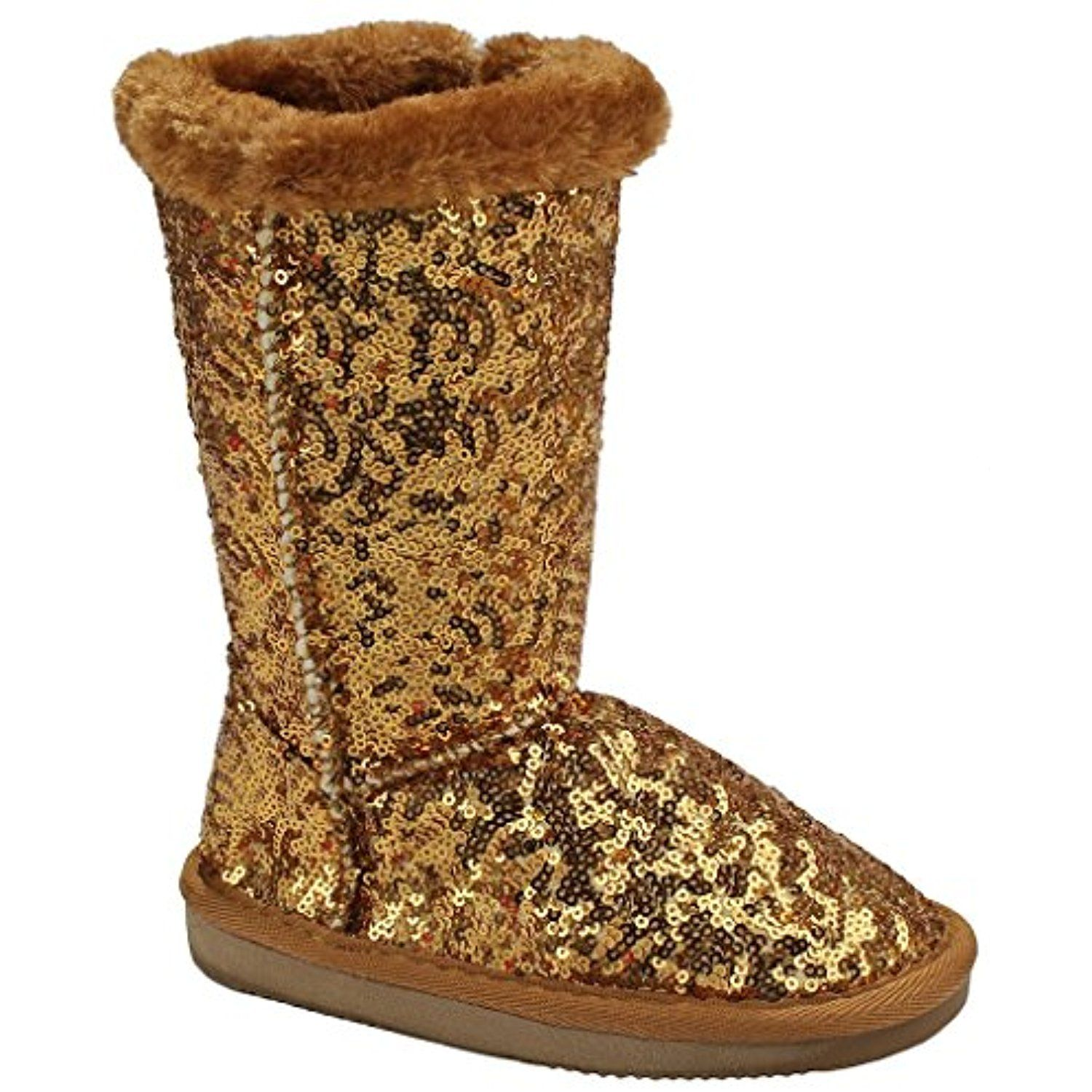 Women Aling47 Glitter Mesh Faux Fur Lined Shearling Mid Calf Winter Boots