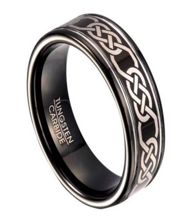 black tungsten wedding band for men with celtic knot design - Celtic Mens Wedding Rings