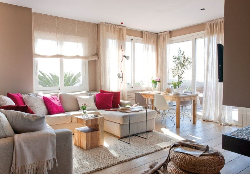 Salón de verano con ventanales y cortinas blancas | Ж | Pinterest