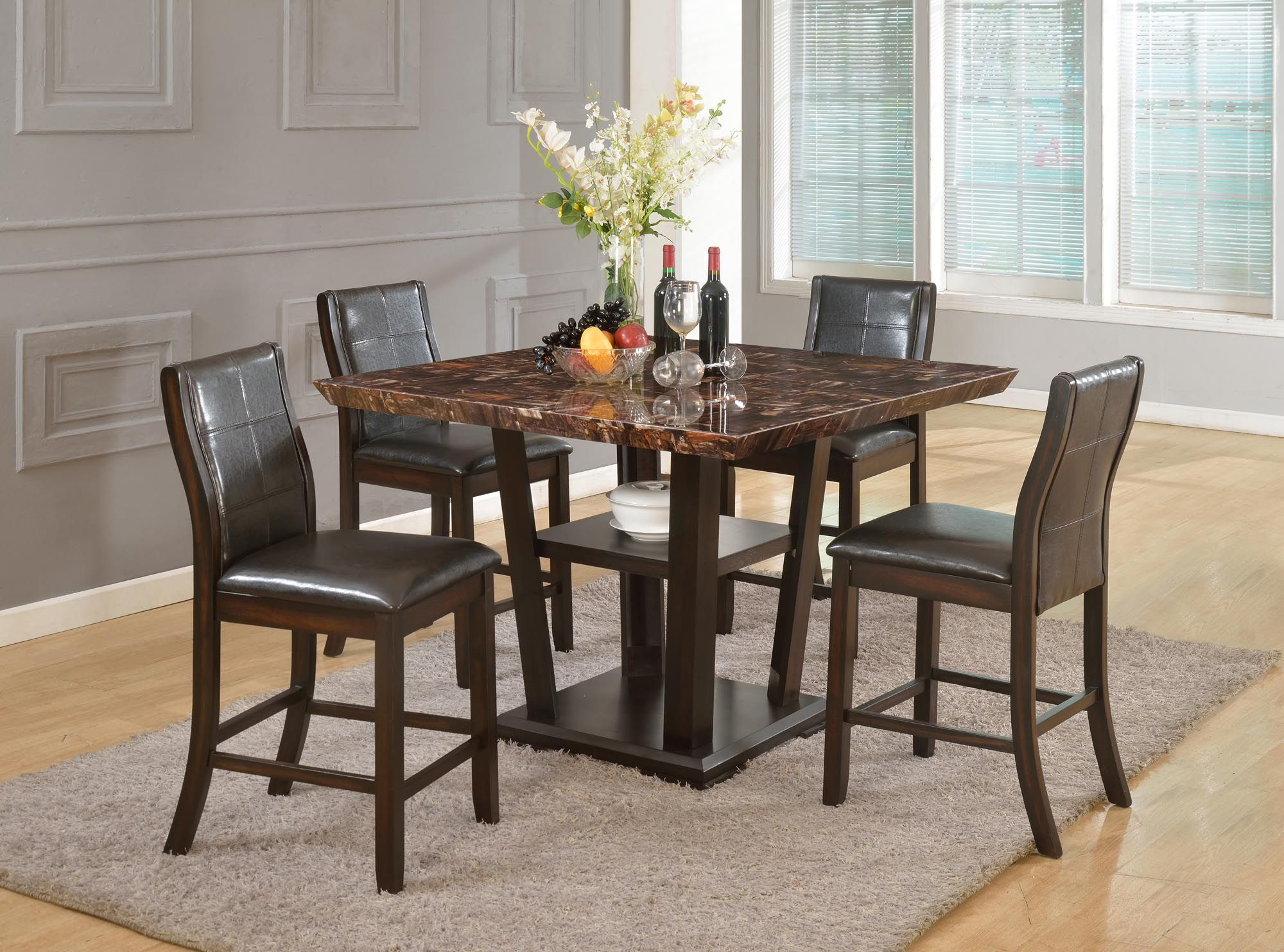 5 Piece Counter Height Table And 4 Chairs Faux Marble Top In