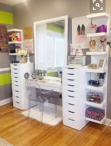 office guest room ideas stuff. Dressing Room, Bathroom Closet, Stuff, Apartment Ideas, Office Guest Rooms, Makeup Vanities, Vanity Tables, Furniture Redo Room Ideas Stuff