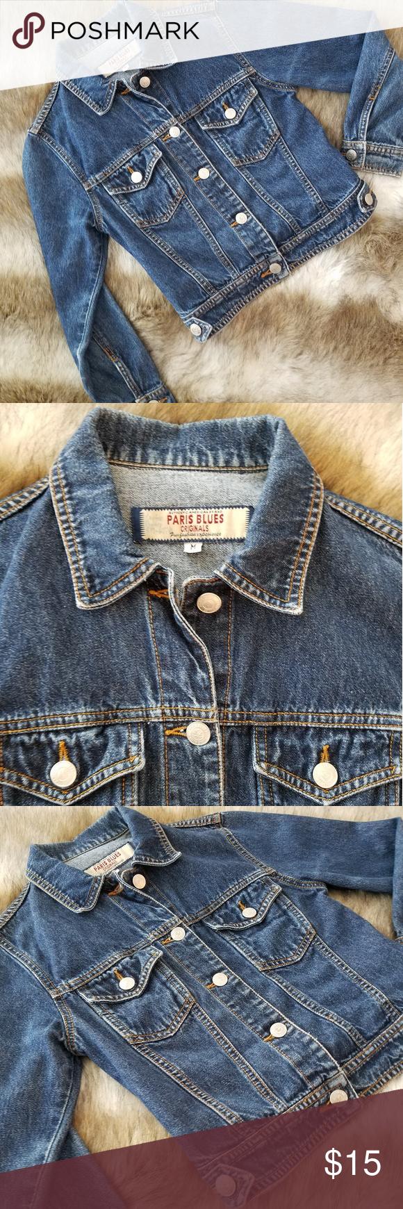 Paris Blues Denim Jacket Size M Blue Denim Jacket Clothes Design Denim Jacket [ 1740 x 580 Pixel ]