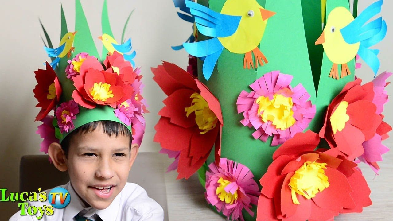 Making Paper Spring Hat How To Make A Spring Hat Spring Hat Ideas Spring Hats Paper Flowers Paper Crafts