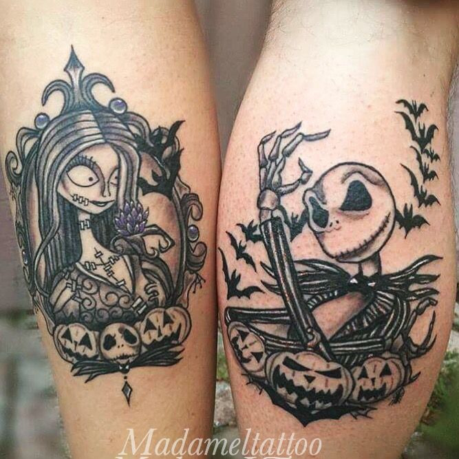 Jack skellington and sally matching tattoos