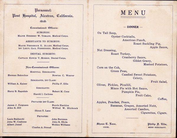 Thanksgiving Day Menu, Post Hospital 1918. Golden Gate ...