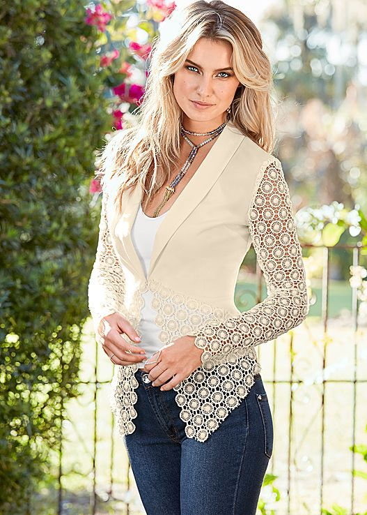 Upgrade your traditional blazer with delicate lace details. Venus lace detail blazer with Venus seamless cami and Venus beaded necklace with tassel.