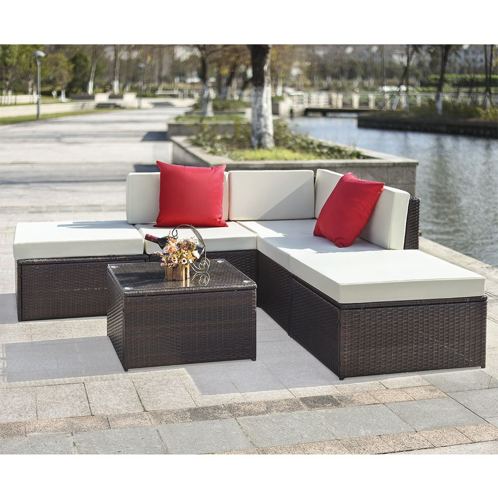 Buy Best Brown IKayaa 6PCS Rattan Wicker Outdoor Patio Sectional Sofa Set  Brown From LovDock.