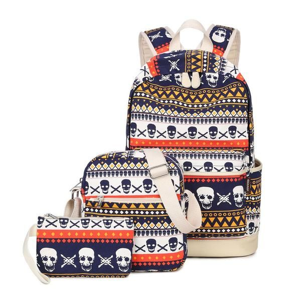 3pcs Set Skull Canvas Backpack   Canvas backpack, Backpacks and Ss 5e1d8aa68d