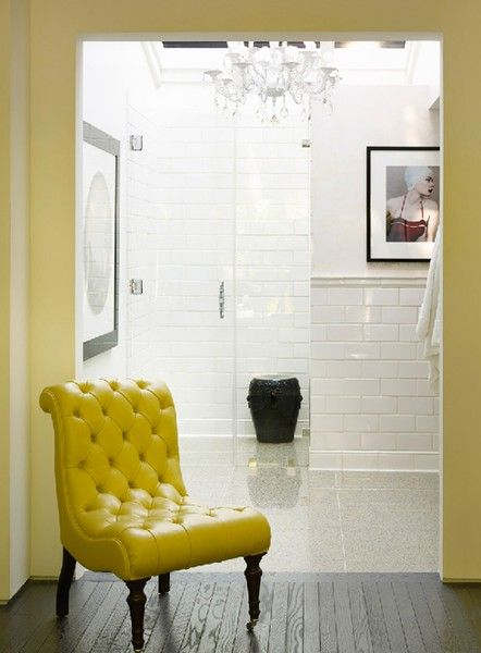 Shiny White Subway Tile Shower All The Yellow That Chair With Images Interior Home Trending Decor