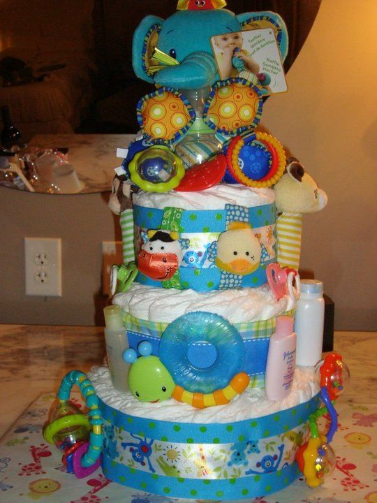 Playful Bold Colors Unisex Diaper Cake Baby Diaper Cake Diy