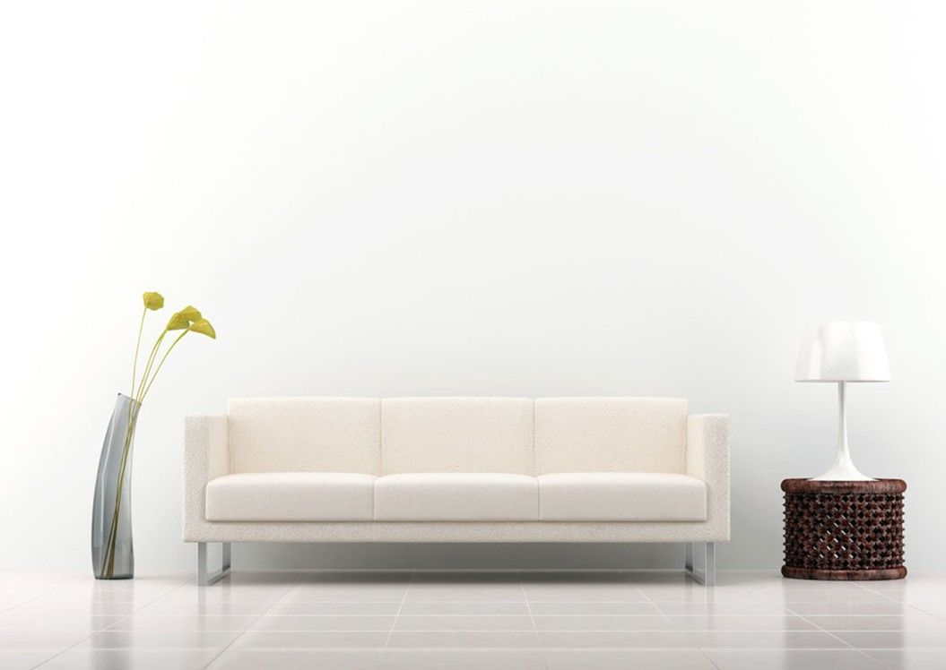 Very minimal living room set up one couch or recliner for Plain wallpaper for living room
