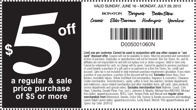 photo regarding Bon Ton Printable Coupon named Pinned July 21st: Simple $5 off $5 at Carsons, Bon Whole lot