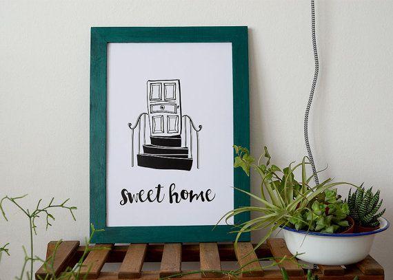Lámina Sweet Home - Diseño Original Dulce hogar. Póster pequeño decoración hogar. Lámina en blanco y negro. Print nórdico. Decoración pared  Impreso