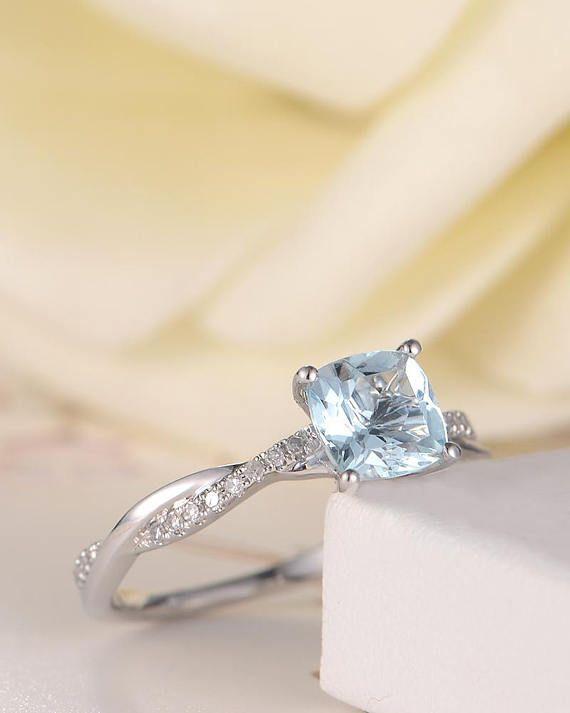 Unique Aquamarine Engagement Ring Bridal Ring White Gold Diamond Infinity Antique Retro March Birthstone Anniversary Promise Women Cushion