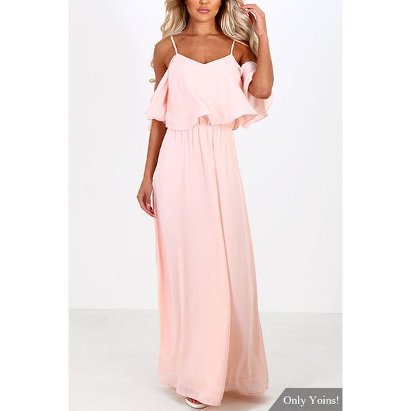 2f76e8a6807 Yoins Pink Off-the-shoulder Frill Top Chiffon Maxi Dress ( 23) ❤ liked on  Polyvore featuring dresses