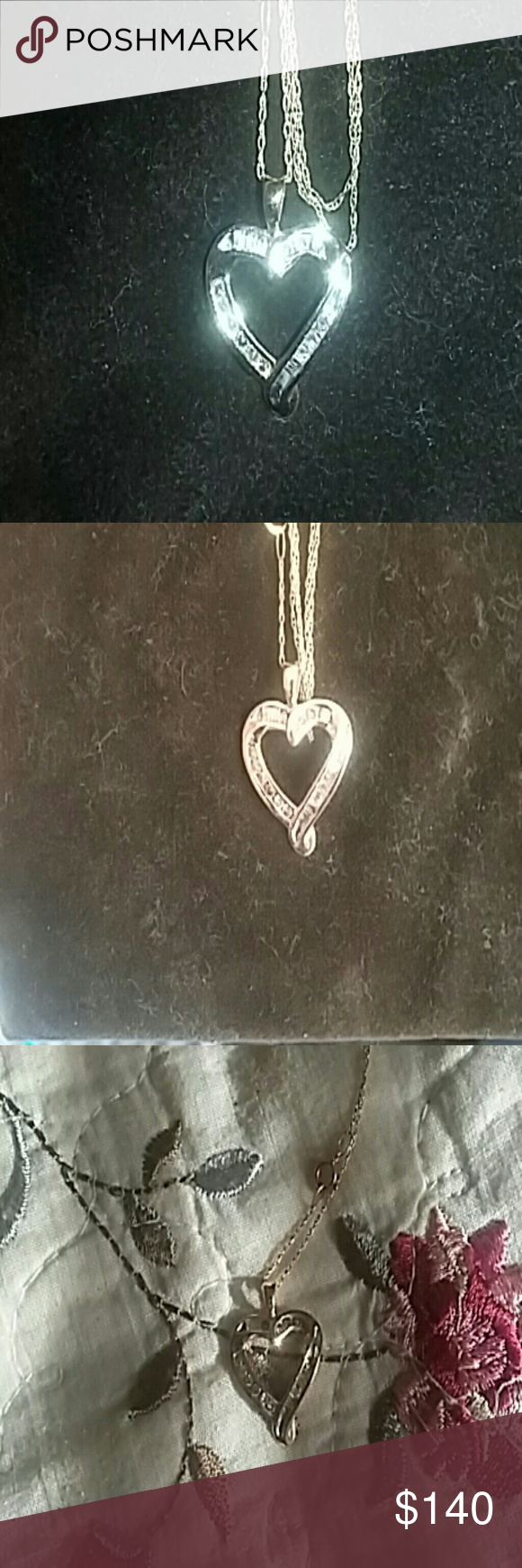 Heart necklace gold chain and diamonds Diamonds around the heart a beautiful necklace of mine just hadn't worn it that much it's real chain and diamonds Jewelry Necklaces