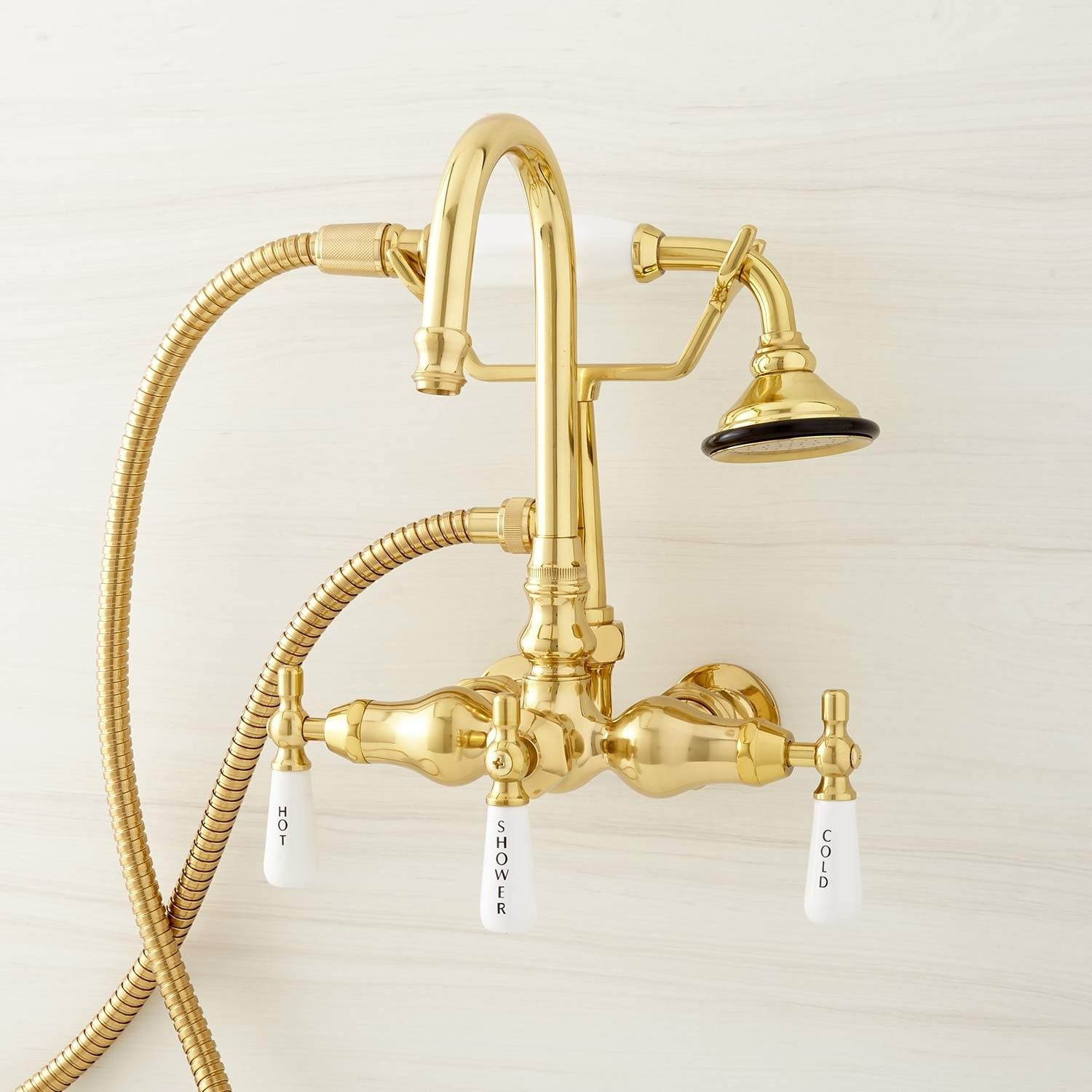 Gooseneck Tub Faucet With Hand Shower And Wall Couplers Tub
