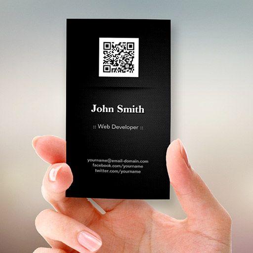 Web Developer Elegant Black Qr Code Business Card Templates Qr Code Business Card Business Cards Creative Business Card Inspiration