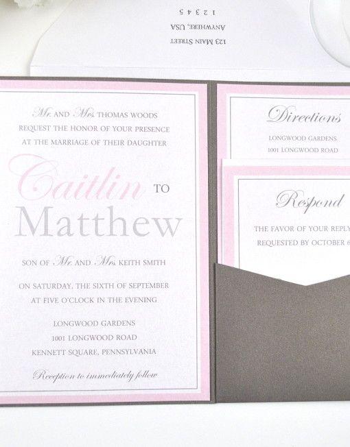Modern Monogram Pocketfold Wedding Invitation in dark grey, light