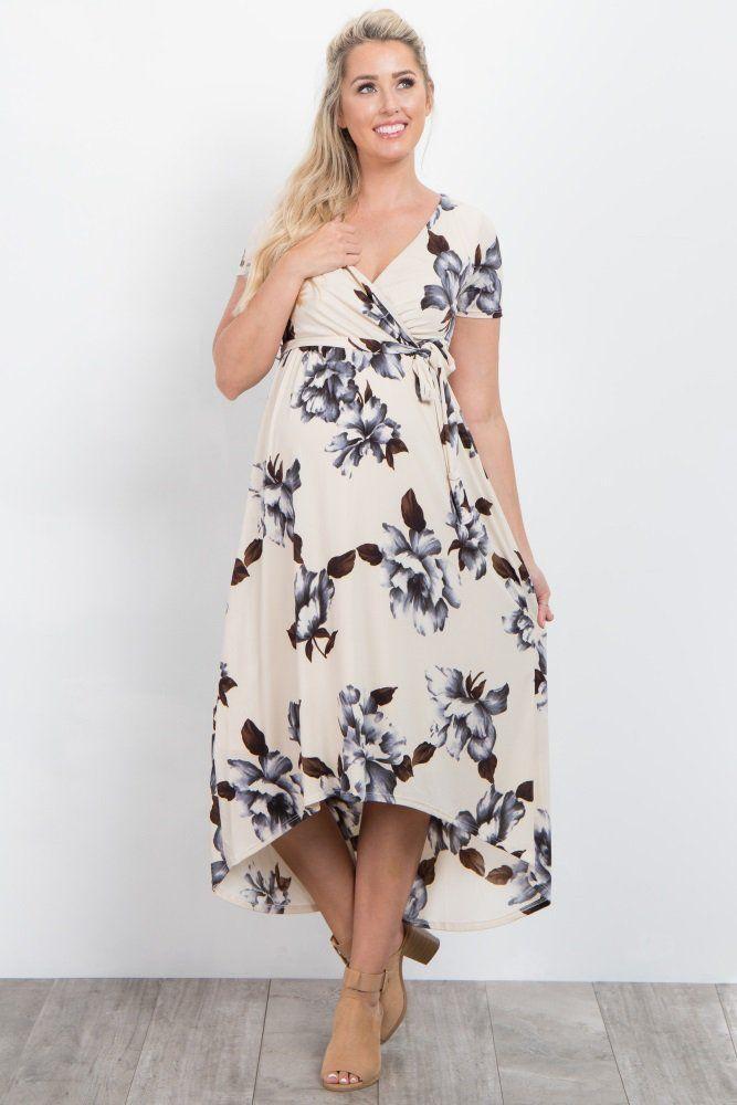 188d5a2894dea Ivory Floral Hi-Low Maternity Wrap Dress