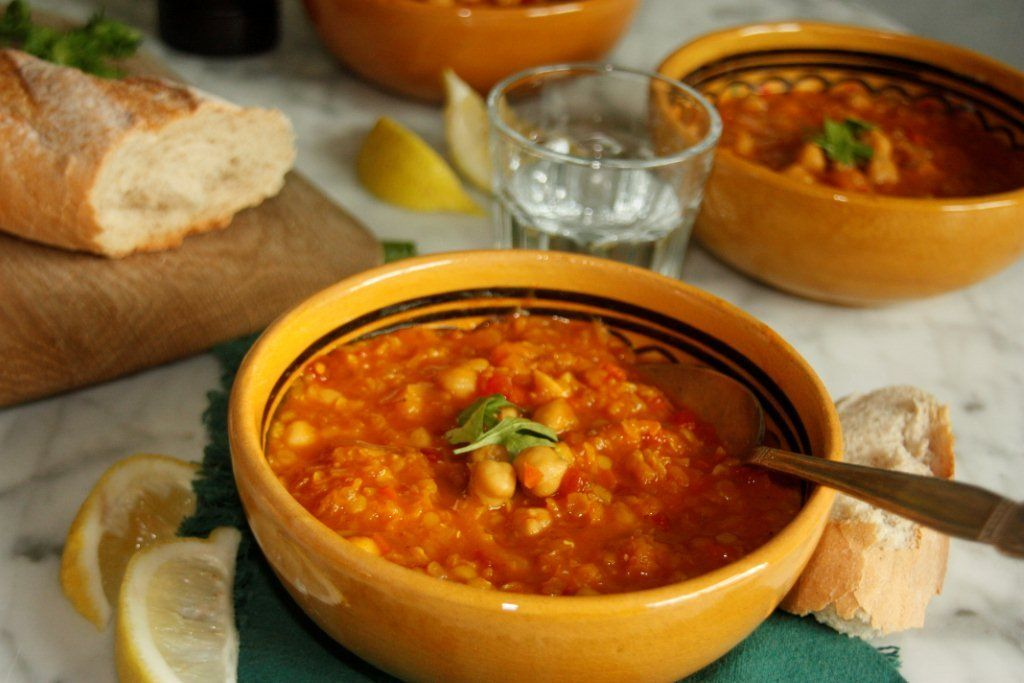 Moroccan-Style Lentil Soup with chickpeas