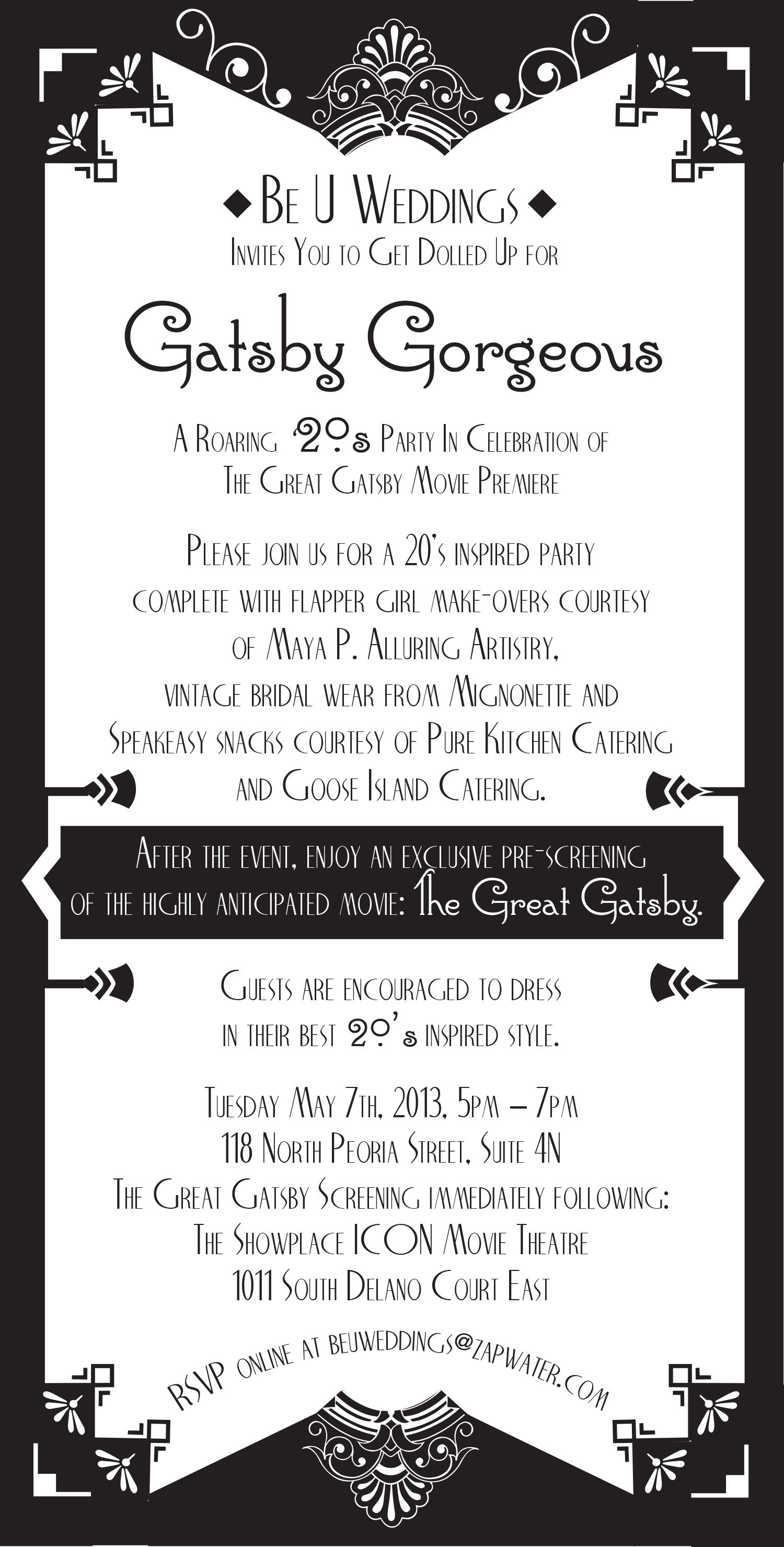 Gatsby Themed Party Invitation Party Invitation Wording