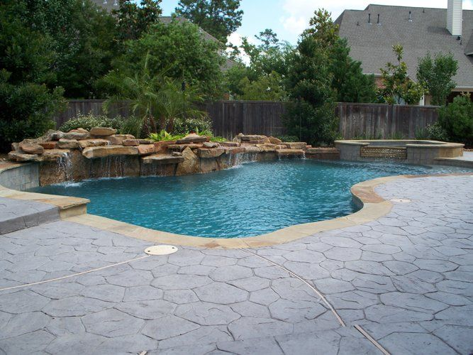Residential Pool 004 Custom Pool And Spa With Elevated Moss Rock Waterfalls Features Include