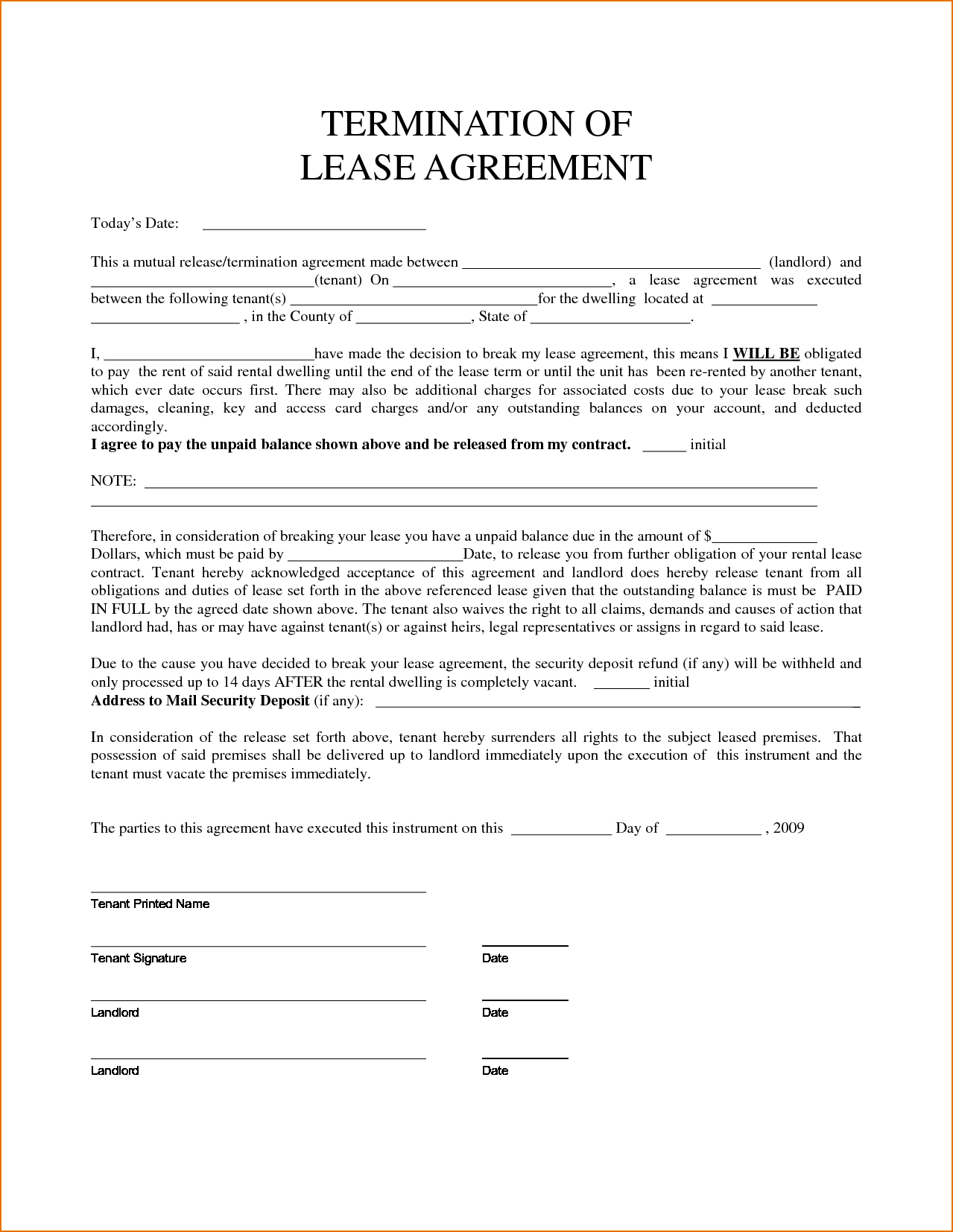 Free Delaware Lease Termination Letter Form Day Notice Word
