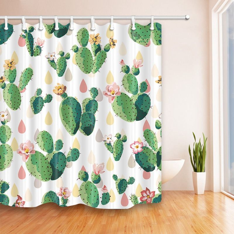 Boho Watercolor Cactus Seamless Shower Curtain Bathroom Decor