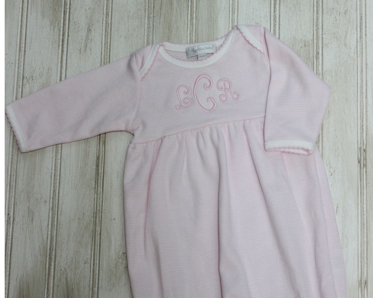 Magnolia Baby Girls Gown Pink White Stripe   Personalized Baby Gowns ...
