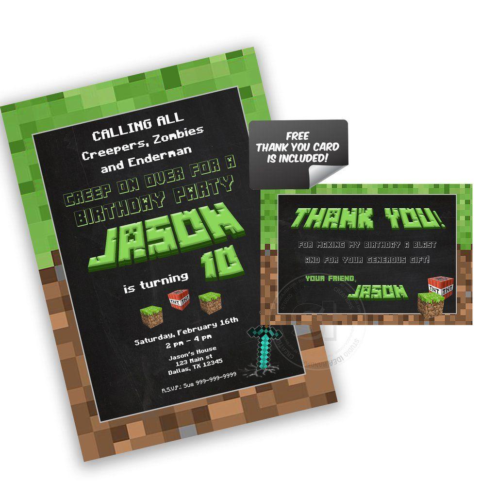 Custom mine theme party printable invitation with free
