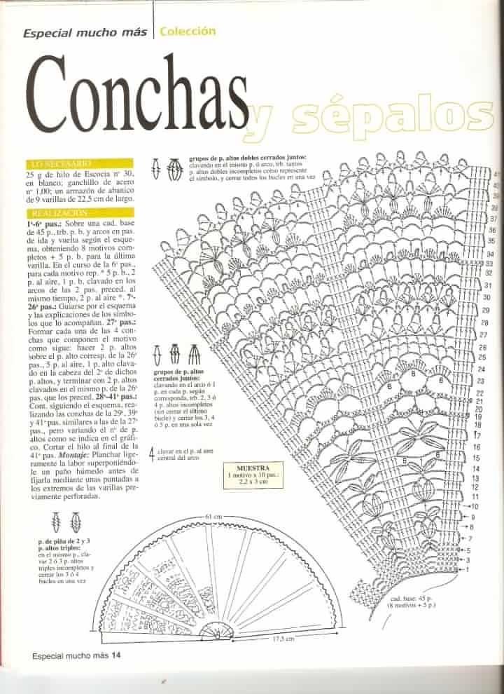 Patrón de abanicos a ganchillo 5 | Abanicos | Pinterest | Crochet ...