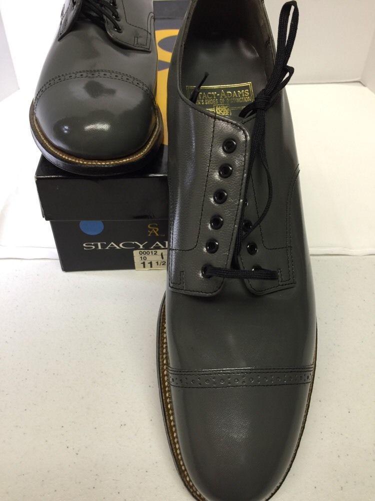 Men/'s Stacy Adams Madison Steel Gray Leather Cap Toe Dress Shoes