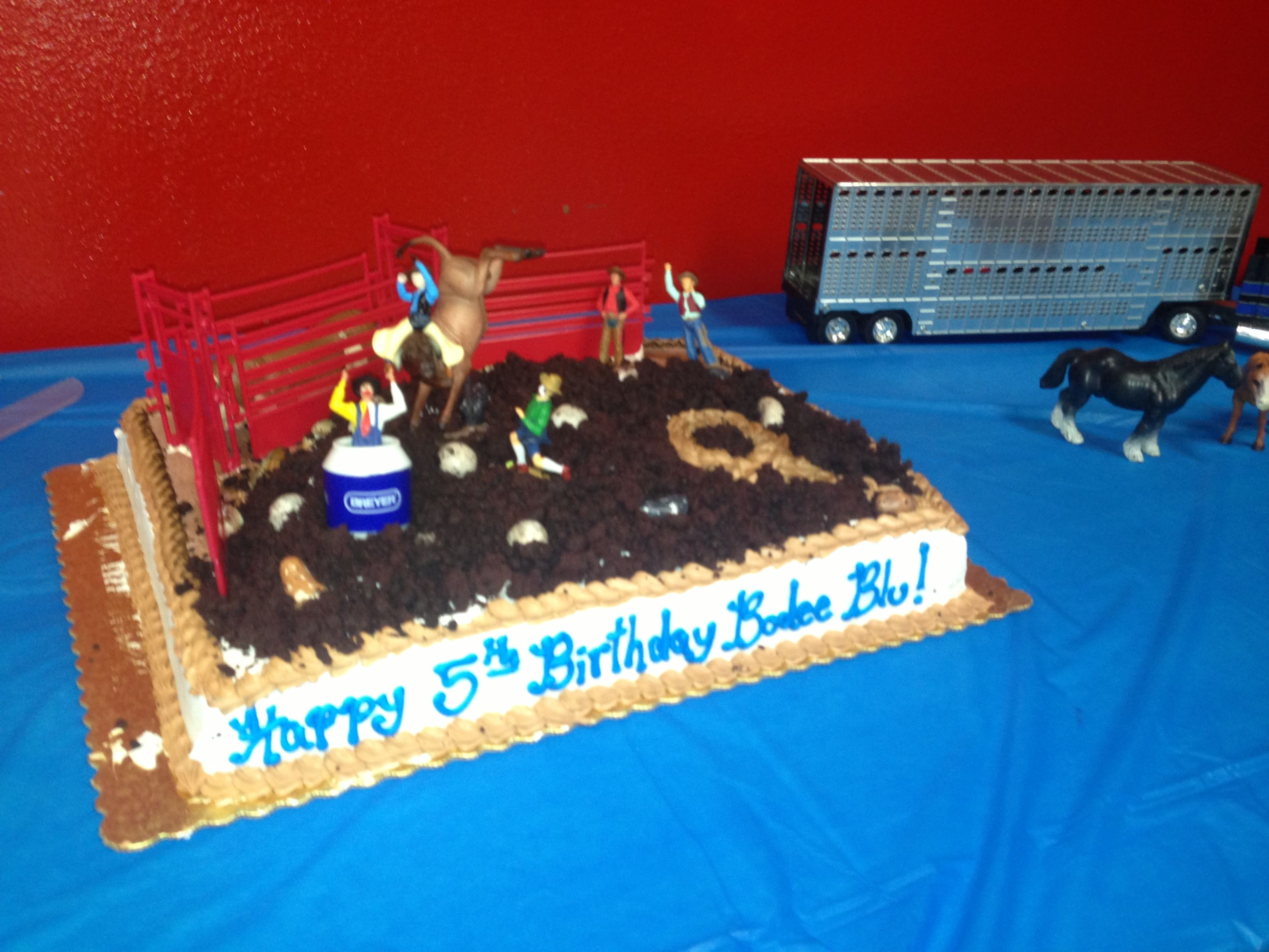 5th birthday cake Bucking bull rodeo theme Party Ideas Pinterest