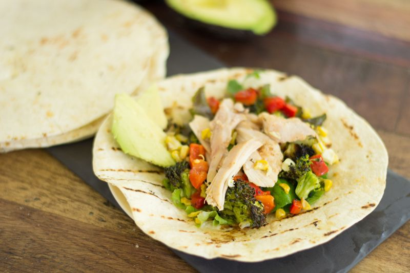 Smoked chicken and grilled veggie fajitas, made super easy with some of our outdoor cooking platters from Revol!