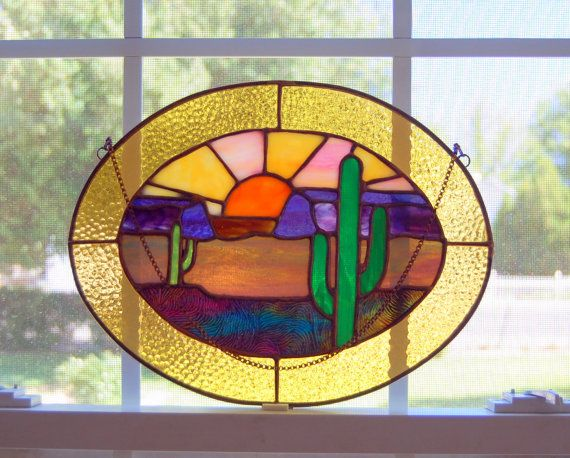 Desert Sunset Stained Glass Oval by QuietHavenStudio on ...