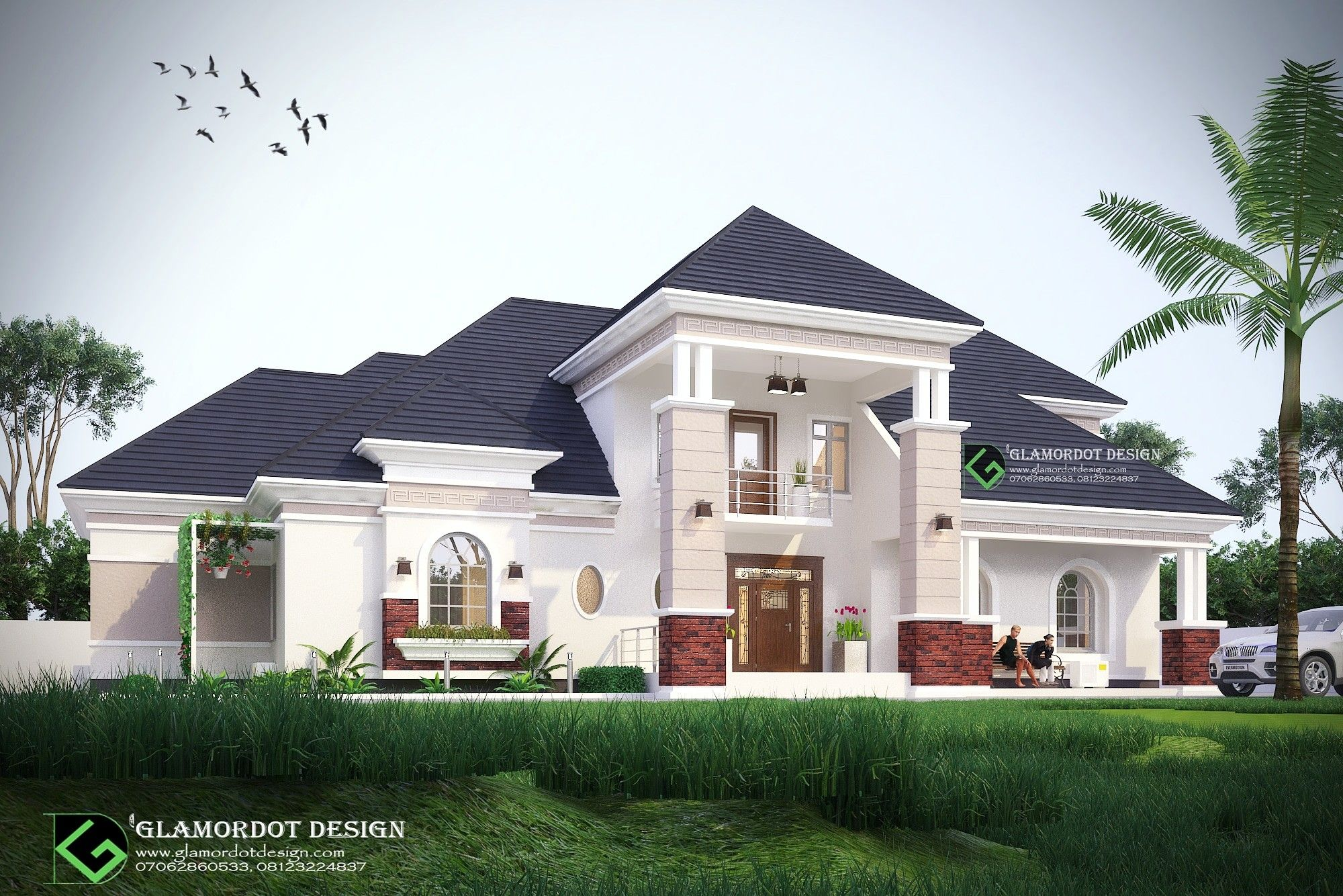 Modified Architectural Design Of A Proposed 5 Bedroom Bungalow With Pent House Abuja Nigeria Build Bungalow Design House Plans Mansion Beautiful House Plans