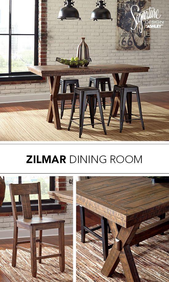 zilmar dining room table u0026 bar stool pinnadel metal bar stools ashley furniture