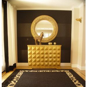 Black gold decorating ideas hall foyer entrance rug mirror cabinet stripes side ways eclectic Pinterest home decor hall