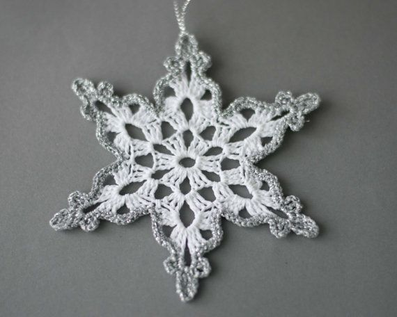 24 Crochet snowflakes SET of 24 Christmas tree ornament Christmas ...