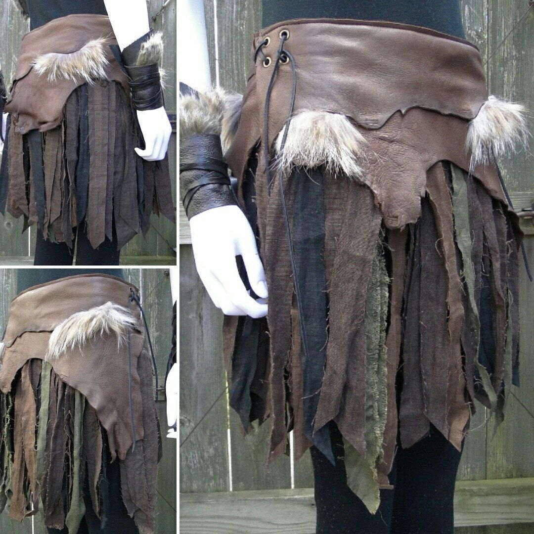 fd188bf9a Battle skirt, war skirt, viking warrior leather & linen made by  folkofthewood on etsy