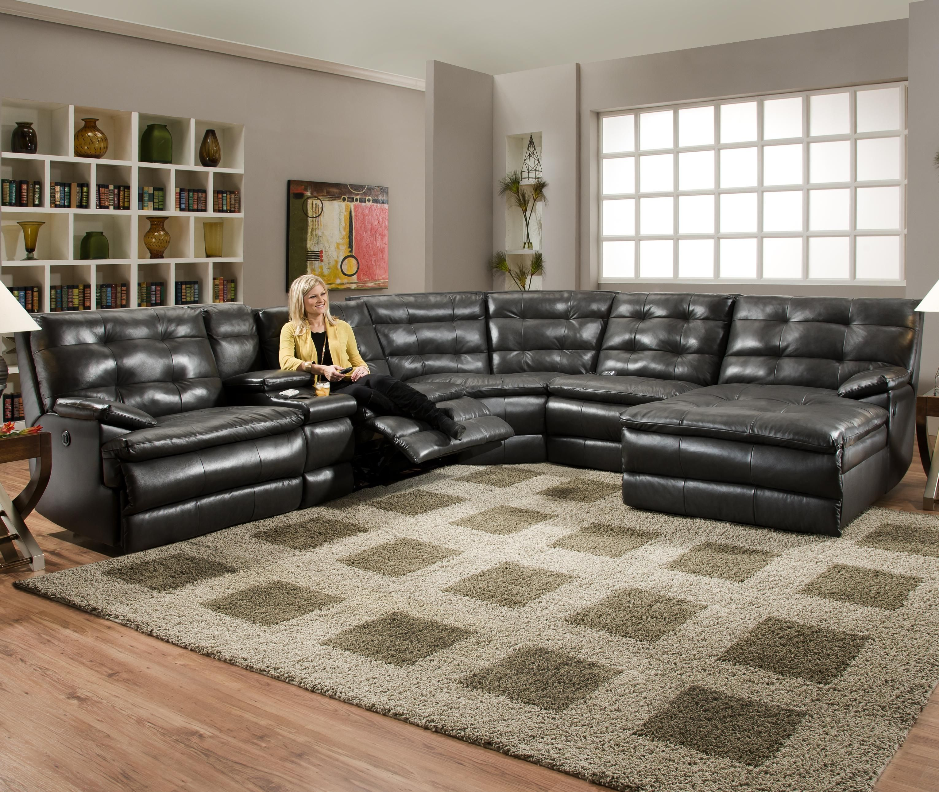 Luxurious Tufted Leather Sectional Sofa In Classy Black Color With Recliner  And Coffee Table Also Arm Rest And Chaise
