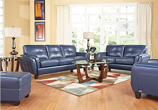 Best Cindy Crawford Home San Sorrento Blue Leather 6 Pc 400 x 300