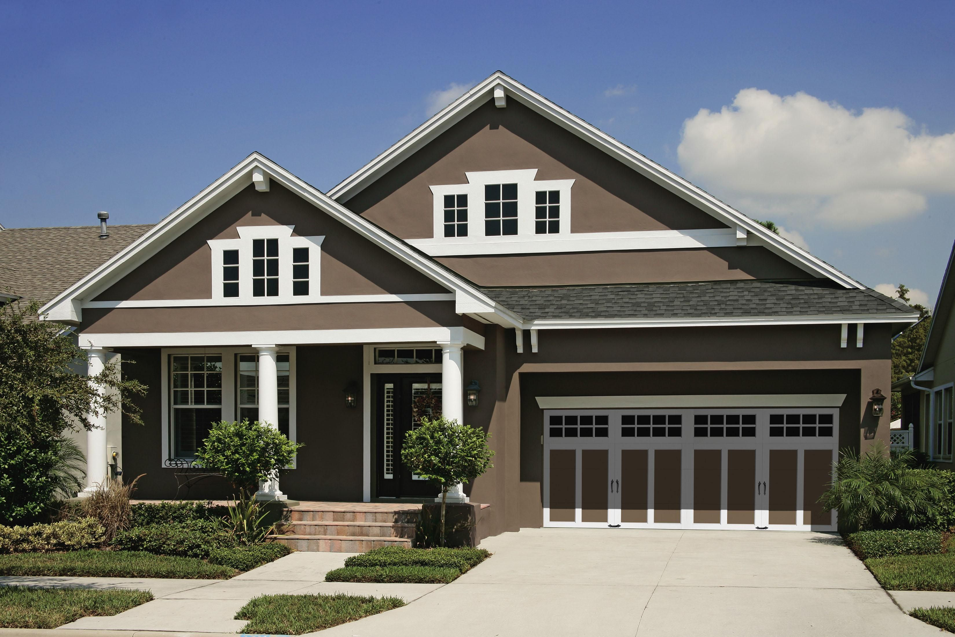 Exterior Captivating Exterior House Paint Colors Designed By Mocha Wall And White Gla House Exterior Color Schemes House Paint Exterior Craftsman Home Exterior