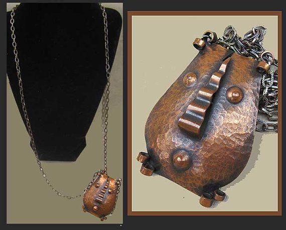 PEDRO PUJOL Rare Primitive Mask Pendant,Signed,Long Original Chain,Rebajes Brother,Mid Century Modern,Vintage Jewelry,Unisex