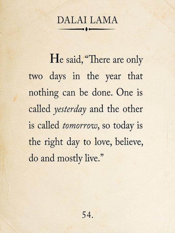 Dalai Lama Book Page Style Literary Quote Print. Fine Art   Etsy