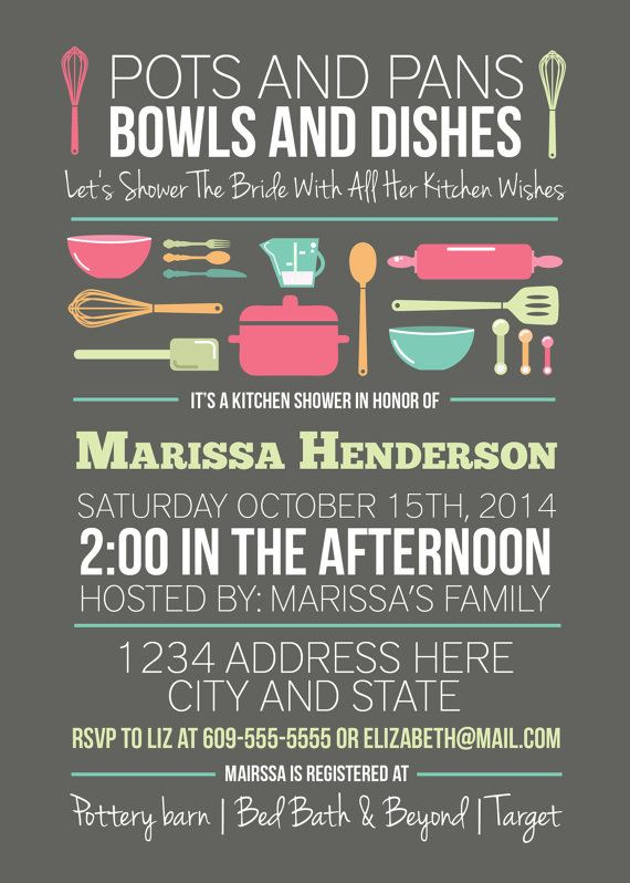 Kitchen shower bridal shower invitation pots and pans for Bridal shower kitchen tea ideas
