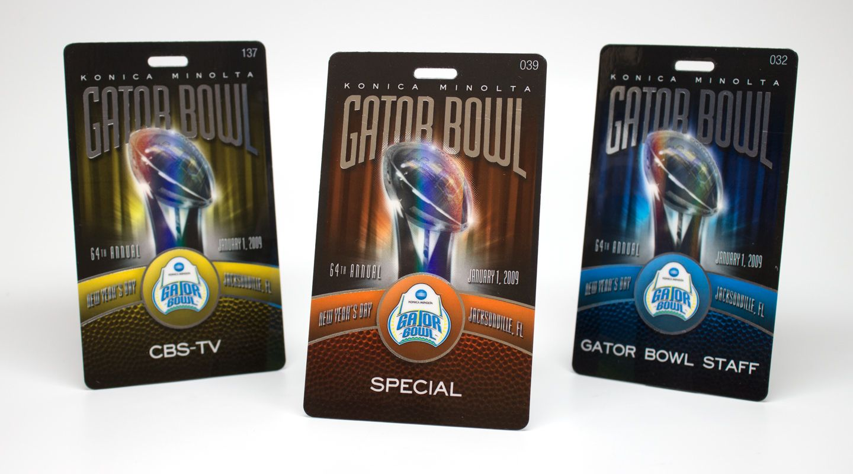 Sports event credentials, media badges, photo name badges